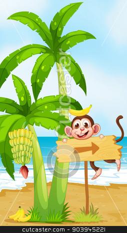 A beach with a monkey near the banana plant stock vector clipart, Illustration of a beach with a monkey near the banana plant by Matthew Cole