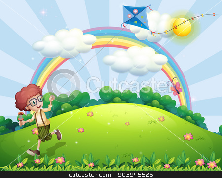 A boy playing with his kite at the hilltop with a rainbow stock vector clipart, Illustration of a boy playing with his kite at the hilltop with a rainbow by Matthew Cole