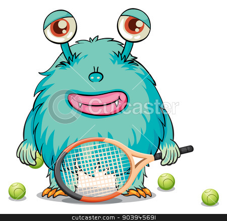 A monster playing table tennis stock vector clipart, Illustration of a monster playing table tennis on a white background by Matthew Cole