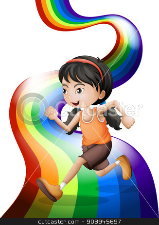 A rainbow with a young woman running stock vector clipart, Illustration of a rainbow with a young woman running on a white background by Matthew Cole