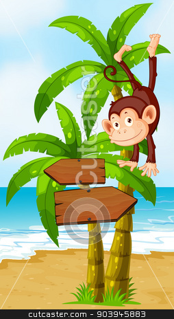 A playful monkey at the beach with an arrowboard stock vector clipart, Illustration of a playful monkey at the beach with an arrowboard by Matthew Cole