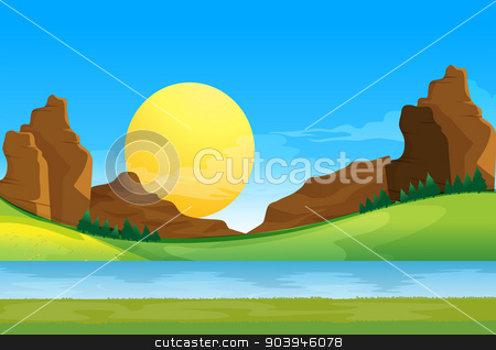 A view of the river under the blue sky with a sun stock vector clipart, Illustration of a view of the river under the blue sky with a sun by Matthew Cole