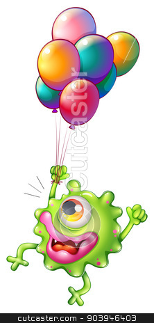 A monster with colourful balloons stock vector clipart, Illustration of a monster with colourful balloons on a white background by Matthew Cole