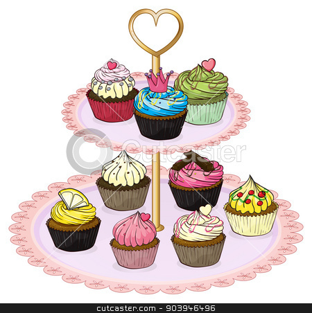 A cupcake tray with cupcakes stock vector clipart, Illustration of a cupcake tray with cupcakes on a white background by Matthew Cole