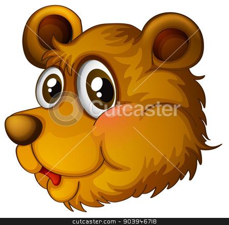 A head of a cute bear stock vector clipart, Illustration of a head of a cute bear on a white background by Matthew Cole