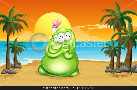 A beach with a green monster stock vector clipart, Illustration of a beach with a green monster by Matthew Cole