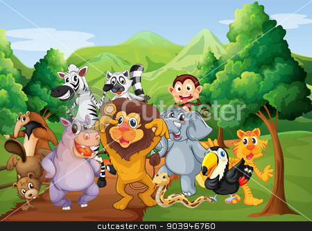 A group of animals at the jungle stock vector clipart, Illustration of a group of animals at the jungle by Matthew Cole