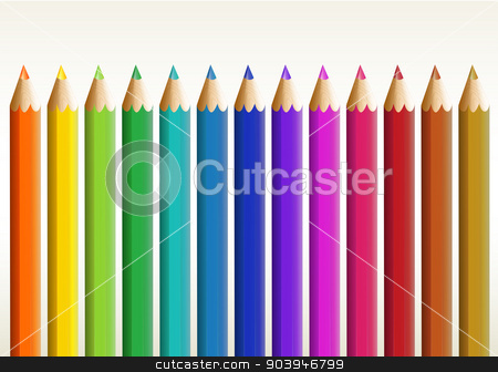 Colorful long pencils stock vector clipart, Illustration of the colorful long pencils on a white background by Matthew Cole