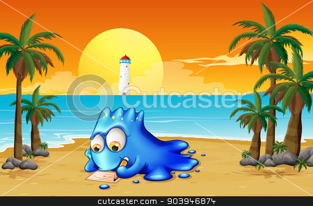 A blue monster writing at the beach stock vector clipart, Illustration of a blue monster writing at the beach by Matthew Cole