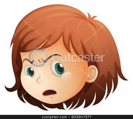 A head of an angry child stock vector clipart, Illustration of a head of an angry child on a white background by Matthew Cole