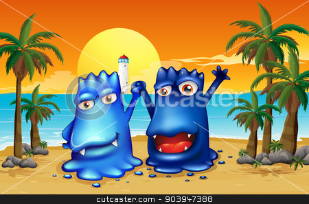 Two monsters at the beach with palm trees stock vector clipart, Illustration of the two monsters at the beach with palm trees by Matthew Cole