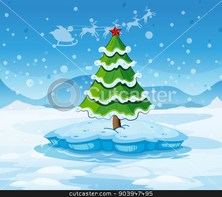 A pine tree above an iceberg with a red star stock vector clipart, Illustration of a pine tree above an iceberg with a red star by Matthew Cole