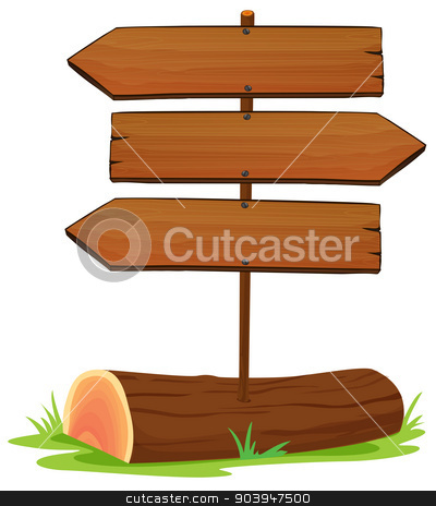 Wooden arrowboards stock vector clipart, Illustration of the wooden arrowboards on a white background by Matthew Cole