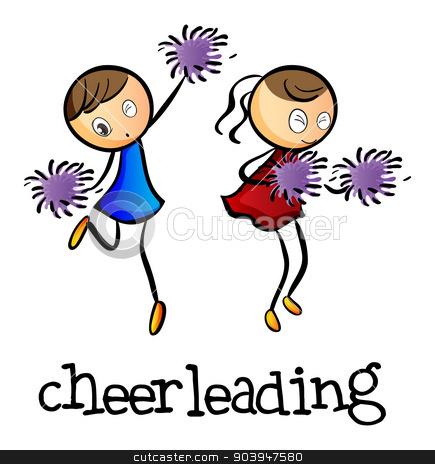 Cheerleaders dancing stock vector clipart, Illustration of the cheerleaders dancing on a white background by Matthew Cole