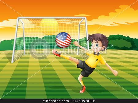 A lady player kicking the ball with the flag of the United State stock vector clipart, Illustration of a lady player kicking the ball with the flag of the United States by Matthew Cole