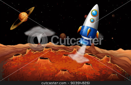 An outerspace with a rocket stock vector clipart, Illustration of an outerspace with a rocket by Matthew Cole
