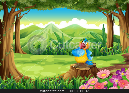 A colorful parrot above the stump at the jungle stock vector clipart, Illustration of a colorful parrot above the stump at the jungle by Matthew Cole