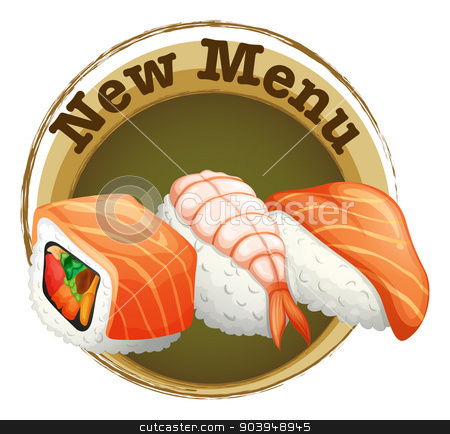 A new menu label with sushi stock vector clipart, Illustration of a new menu label with sushi on a white background by Matthew Cole