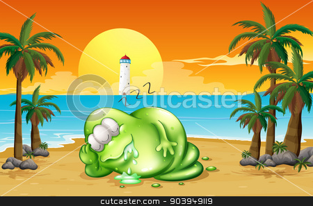 A monster sleeping soundly at the beach stock vector clipart, Illustration of a monster sleeping soundly at the beach by Matthew Cole