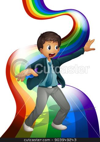 A boy dancing above the rainbow stock vector clipart, Illustration of a boy dancing above the rainbow on a white background by Matthew Cole