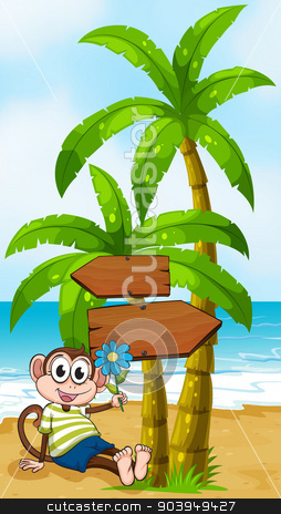 A beach with a smiling monkey sitting under the wooden arrowboar stock vector clipart, Illustration of a beach with a smiling monkey sitting under the wooden arrowboard by Matthew Cole