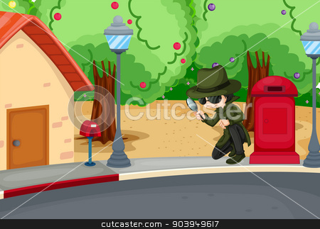 A detective at the road with a magnifying lens stock vector clipart, Illustration of a detective at the road with a magnifying lens by Matthew Cole