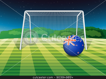 A soccer ball at the field with the New Zealand flag stock vector clipart, Illustration of a soccer ball at the field with the New Zealand flag by Matthew Cole