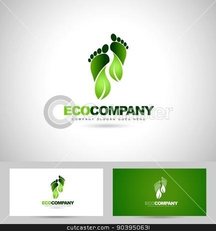 Eco Green Steps Logo Stock Vector