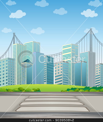Tall buildings in the city stock vector clipart, Illustration of the tall buildings in the city by Matthew Cole