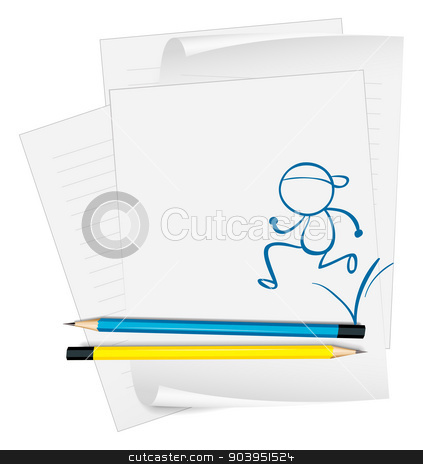 A paper with a sketch of a man running stock vector clipart, Illustration of a paper with a sketch of a man running on a white background by Matthew Cole