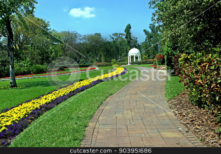 Garden stock photo, A beautiful garden with flowers and trees by Lucy Clark