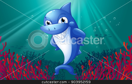 A blue shark smiling under the sea stock vector clipart, Illustration of a blue shark smiling under the sea by Matthew Cole