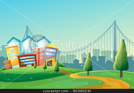 A pathway going to the colorful buildings in the city stock vector clipart, Illustration of a pathway going to the colorful buildings in the city by Matthew Cole