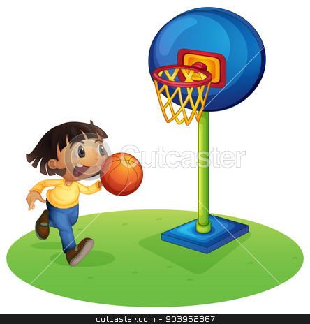 A small boy playing basketball  stock vector clipart, Illustration of a small boy playing basketball on a white background  by Matthew Cole
