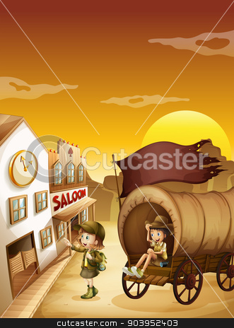 A wagon with kids near a saloon stock vector clipart, Illustration of a wagon with kids near a saloon by Matthew Cole