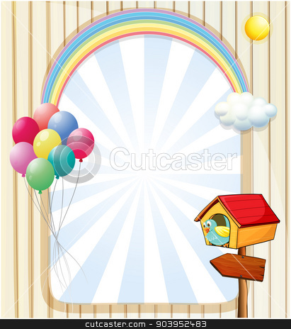A pethouse near an empty template with balloons and rainbow stock vector clipart, Illustration of a pethouse near an empty template with balloons and rainbow by Matthew Cole