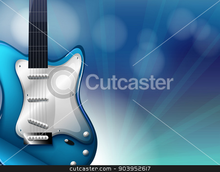 A stationery with a blue electric guitar stock vector clipart, Illustration of a stationery with a blue electric guitar by Matthew Cole