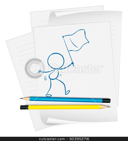 A paper with a sketch of a person holding a flag stock vector clipart, Illustration of a paper with a sketch of a person holding a flag on a white background by Matthew Cole