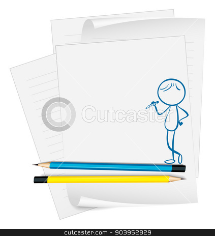 A paper with a sketch of a boy with a pencil stock vector clipart, Illustration of a paper with a sketch of a boy with a pencil on a white background by Matthew Cole