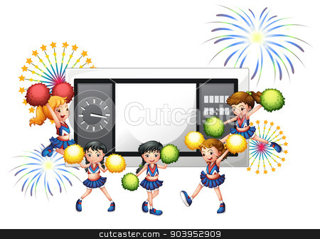 Cheerdancers with a scoreboard at the back stock vector clipart, Illustration of the cheerdancers with a scoreboard at the back on a white background by Matthew Cole