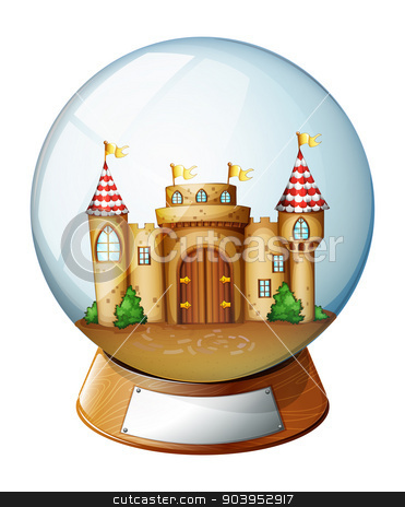 A palace inside the crystal ball  stock vector clipart, Illustration of a palace inside the crystal ball on a white background  by Matthew Cole