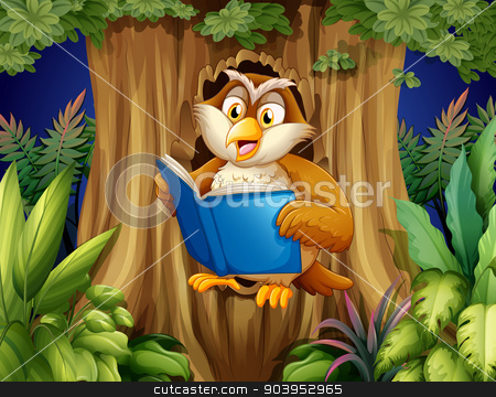 An owl reading a book at the tree stock vector clipart, Illustration of an owl reading a book at the tree by Matthew Cole