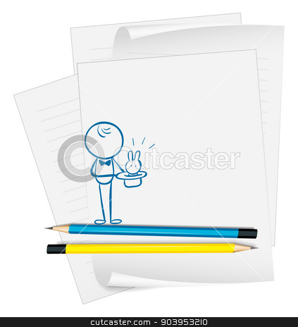 A paper with a sketch of a person and a bunny stock vector clipart, Illustration of a paper with a sketch of a person and a bunny on a white background by Matthew Cole