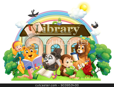 Animals reading in front of the library stock vector clipart, Illustration of the animals reading in front of the library on a white background by Matthew Cole