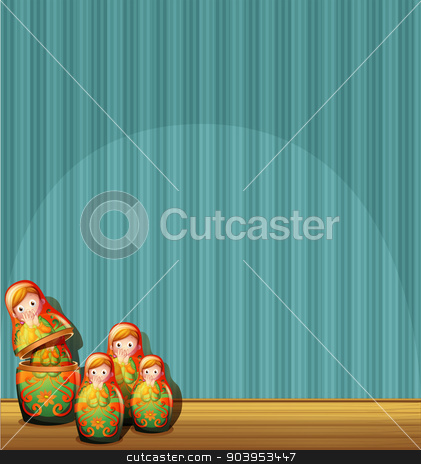 A blue wall with four Russian dolls stock vector clipart, Illustration of a blue wall with four Russian dolls by Matthew Cole