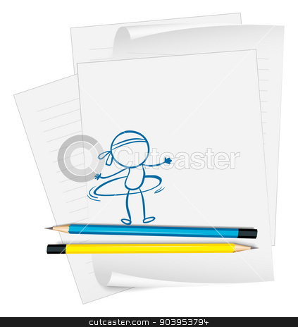 A paper with a sketch of a person with a hula hoop stock vector clipart, Illustration of a paper with a sketch of a person with a hula hoop on a white background by Matthew Cole