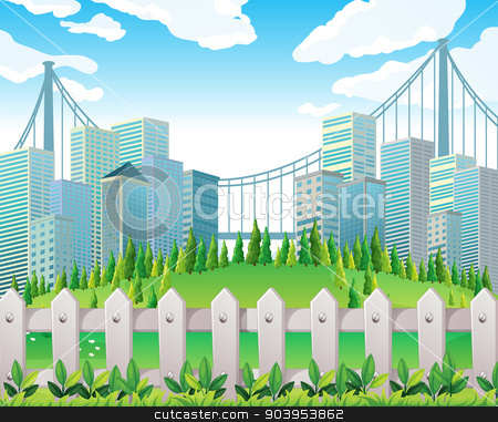 A hill with many pine trees near the tall buildings stock vector clipart, Illustration of a hill with many pine trees near the tall buildings by Matthew Cole