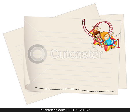 A paper with a drawing of kids riding in a roller coaster stock vector clipart, Illustration of a paper with a drawing of kids riding in a roller coaster on a white background  by Matthew Cole