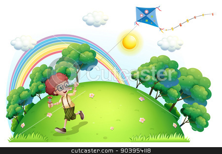A boy playing with his kite at the hilltop stock vector clipart, Illustration of a boy playing with his kite at the hilltop on a white background by Matthew Cole