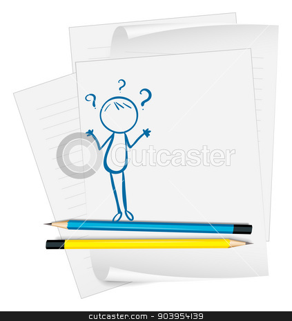 A paper with a sketch of a confused person stock vector clipart, Illustration of a paper with a sketch of a confused person on a white background by Matthew Cole